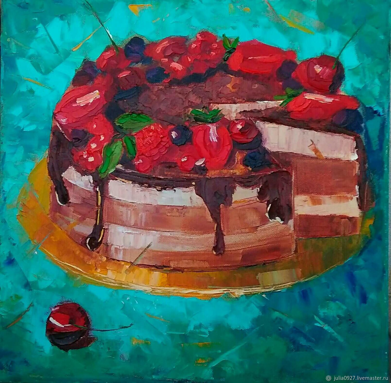 The picture of the Cake for tea still life oil palette knife, Pictures, Ekaterinburg,  Фото №1