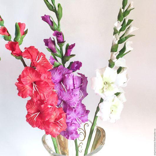 Гладиолус, гладиолусы, цветы ручной работы, подарок на любой случай, букет цветов, букет из полимерной глины, цветы ручной работы, цветы из полимерной глины