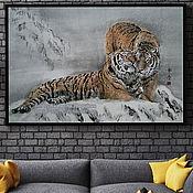 Картины ручной работы. Ярмарка Мастеров - ручная работа Картина Вместе 91х61 японская живопись суми-э снег пара тигры любовь. Handmade.