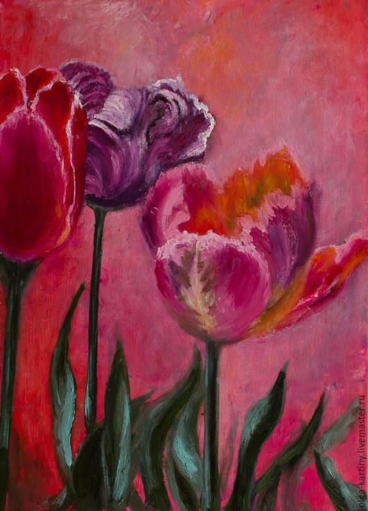 Картины цветов ручной работы. Ярмарка Мастеров - ручная работа. Купить Картина маслом Тюльпаны. Handmade. Тюльпаны, картина в подарок