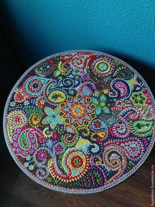 """Мебель ручной работы. Ярмарка Мастеров - ручная работа. Купить Столик мозаика  бусинами """"Мечта об Индии"""". Handmade. Разноцветный"""