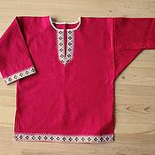 """Русский стиль ручной работы. Ярмарка Мастеров - ручная работа Рубашка """"Коляда"""" детская красная. Handmade."""