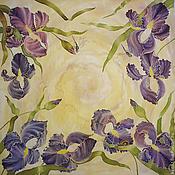 Аксессуары handmade. Livemaster - original item Scarf batik silk with irises
