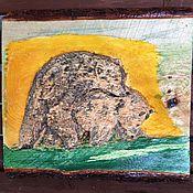 Картины и панно ручной работы. Ярмарка Мастеров - ручная работа Панно Медведи играют резьба по дереву объемная картина. Handmade.