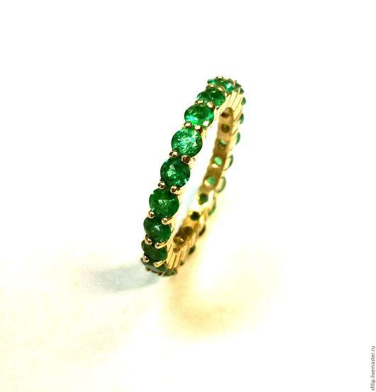 """Кольца ручной работы. Ярмарка Мастеров - ручная работа. Купить Кольцо""""Esmeralda"""" изумруды,золото 585 пробы. Handmade. Зеленый"""