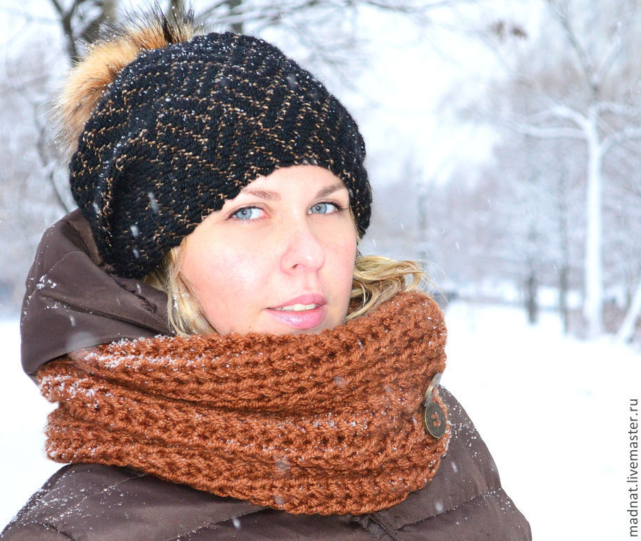 Double women's hat 'Vivien' (black brown), Caps, Moscow,  Фото №1