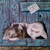 Pictures handmade. Livemaster - original item Oil Painting My two cats. Handmade.