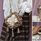 Сумки и аксессуары ручной работы. Ярмарка Мастеров - ручная работа Вязаная льняная сумочка с фермуаром на длинной цепочке, любимый бохо. Handmade.