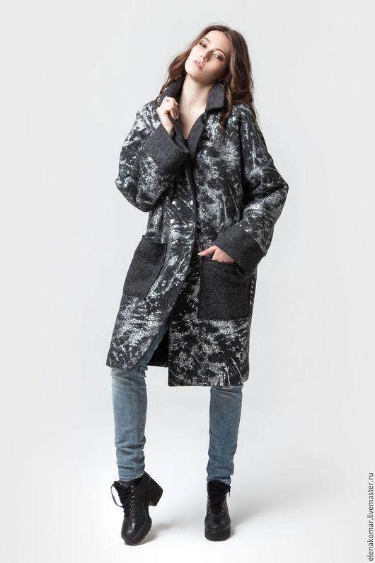 Верхняя одежда ручной работы. Ярмарка Мастеров - ручная работа. Купить Пальто зимнее. Handmade. Темно-серый, пальто из шерсти