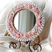 """Для дома и интерьера ручной работы. Ярмарка Мастеров - ручная работа Зеркало """"Розовый фламинго"""" настольное будуарное. Handmade."""