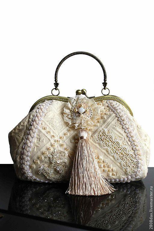 Handbag 'Creme Glacee', Vintage style, Classic Bag, Bordeaux,  Фото №1