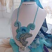"""Украшения ручной работы. Ярмарка Мастеров - ручная работа колье вышитое бисером """"дельфин"""". Handmade."""