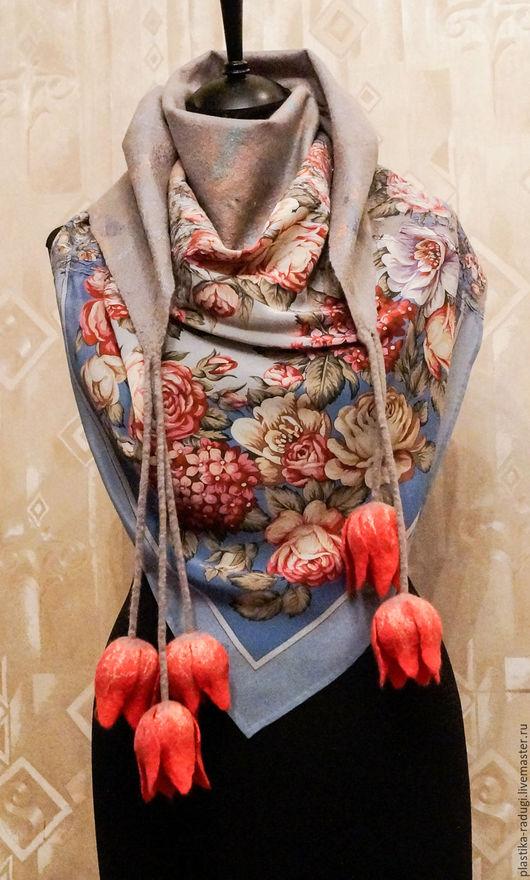Шали, палантины ручной работы. Ярмарка Мастеров - ручная работа. Купить Шарф, бактус женский валяный  Тюльпаны. Handmade. Серый