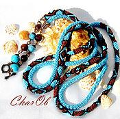 "Украшения handmade. Livemaster - original item Lariat "" Turquoise Waves "" . Length Decoration . Necklace. Tie.. Handmade."
