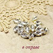 Материалы для творчества handmade. Livemaster - original item Glass rhinestone 10h5 mm Crystal in gold and silver rims. Handmade.