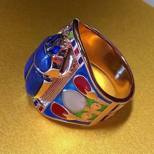"""Кольца ручной работы. Ярмарка Мастеров - ручная работа. Купить Кольцо """" Скарабей"""" с азуритом и эмалью .. Handmade. Кольцо, серебо"""