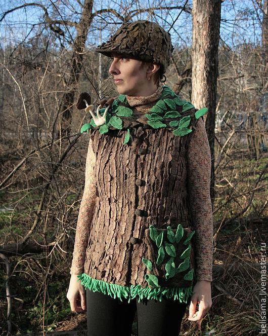 """Жилеты ручной работы. Ярмарка Мастеров - ручная работа. Купить """"Лиственный лес"""" войлочный жилет. Handmade. Грибы, древесный, хоббит"""