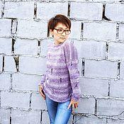"""Одежда ручной работы. Ярмарка Мастеров - ручная работа Свитер, пуловер, кофта лавандовый """"Деним"""" из 100% хлопка. Handmade."""