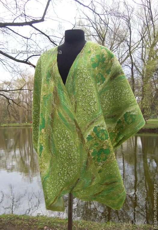 """Шали, палантины ручной работы. Ярмарка Мастеров - ручная работа. Купить Палантин валяный """"Весна идёт..."""". Handmade. Зеленый"""