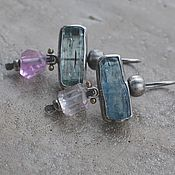 Украшения handmade. Livemaster - original item Beryl and kunzite earrings, silver and brass. Handmade.
