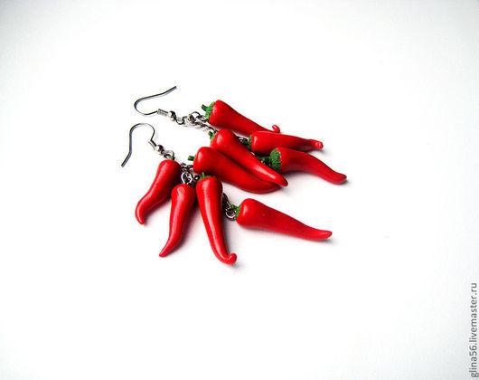 Серьги ручной работы. Ярмарка Мастеров - ручная работа. Купить Жжжжжгучие перчики !!!!!!!!!!!!!!!!. Handmade. Ярко-красный, необычные серьги