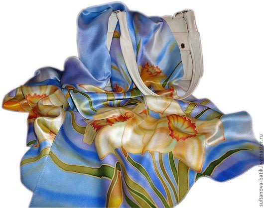 """Шарфы и шарфики ручной работы. Ярмарка Мастеров - ручная работа. Купить шарф батик """"Музыка весны"""". Handmade. Голубой, Батик"""