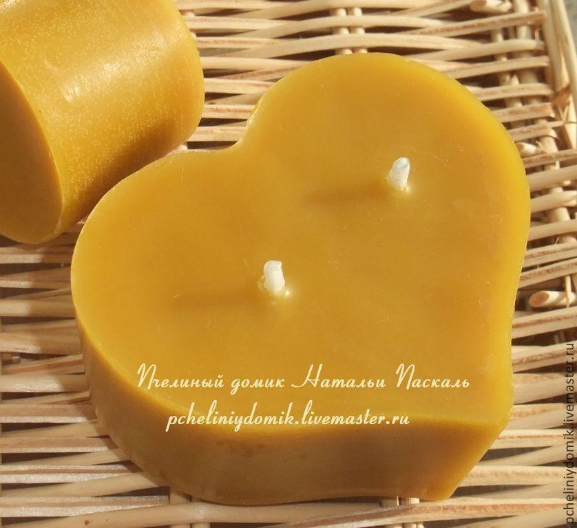 Свечи ручной работы. Ярмарка Мастеров - ручная работа. Купить Свеча из пчелиного воска Сердце с двумя фитилями. Handmade.
