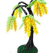 Деревья ручной работы. Ярмарка Мастеров - ручная работа Дерево из бисера Желтая акация. Handmade.
