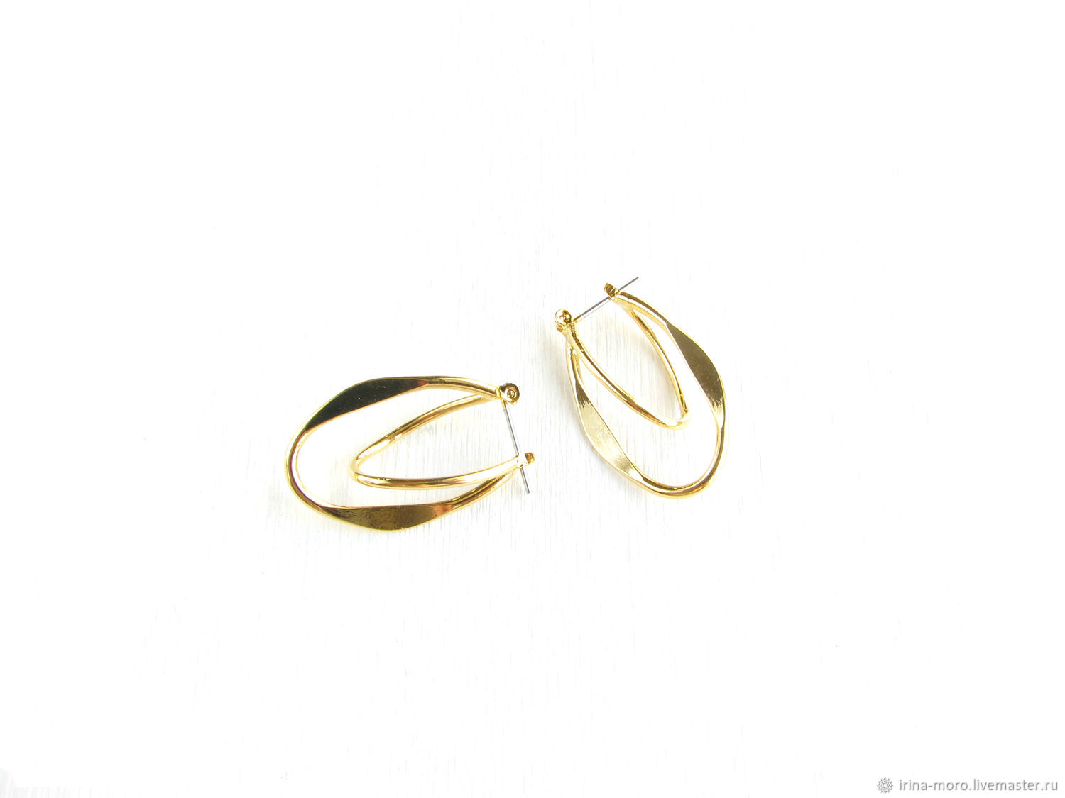 Gold geometric ring earrings'Romance' oval, Congo earrings, Moscow,  Фото №1