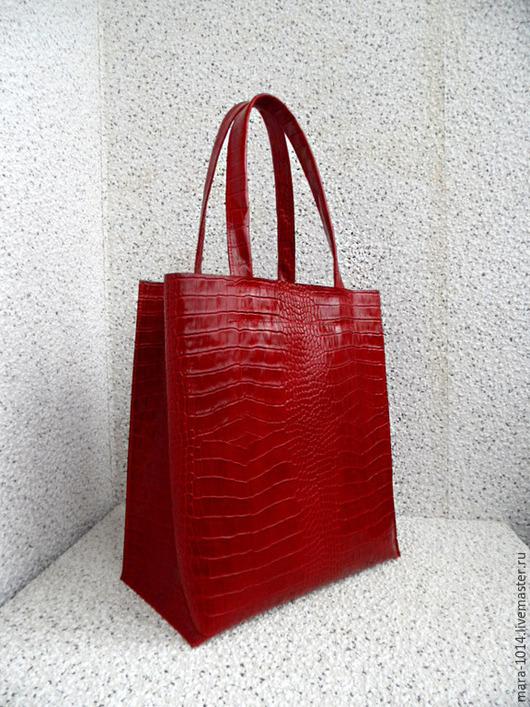 Женские сумки ручной работы. Ярмарка Мастеров - ручная работа. Купить СИТИ SCARLET сумка из красной кожи, сумка-пакет, шоппер. Handmade.