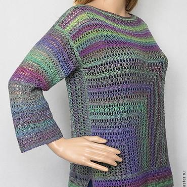 """Одежда ручной работы. Ярмарка Мастеров - ручная работа Пуловер """"Зелёный меланж"""". Handmade."""
