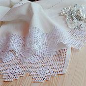 Свадебный салон ручной работы. Ярмарка Мастеров - ручная работа Белый льняной рушник. Дорожка на стол. Строчевая вышивка. Handmade.