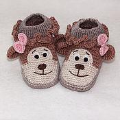 """Работы для детей, ручной работы. Ярмарка Мастеров - ручная работа Пинетки """"Обезьянки"""", вязаные пинетки ботиночки. Handmade."""