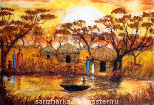 Пейзаж ручной работы. Ярмарка Мастеров - ручная работа. Купить Картина из шерсти    Окрестности кратера Нгоронгоро (Ngorongoro). Handmade. Картина