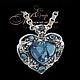 Сердце из белого золота с голубым топазом и бриллиантами Jeweller-X.ru