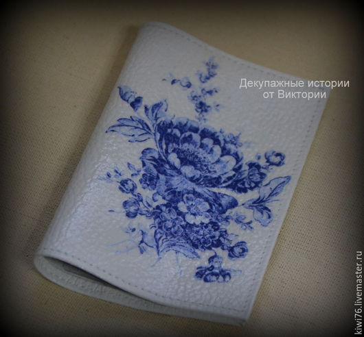 """Обложки ручной работы. Ярмарка Мастеров - ручная работа. Купить обложка на паспорт """"Гжель"""". Handmade. Синий, паспортная обложка"""