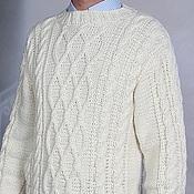 Одежда ручной работы. Ярмарка Мастеров - ручная работа Белый свитер мужской XXL вязанный, 100% ручная работа. Handmade.