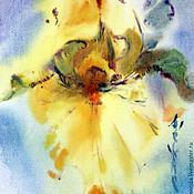 Картины и панно ручной работы. Ярмарка Мастеров - ручная работа акварель-диптих желтый и голубой ирис. Handmade.