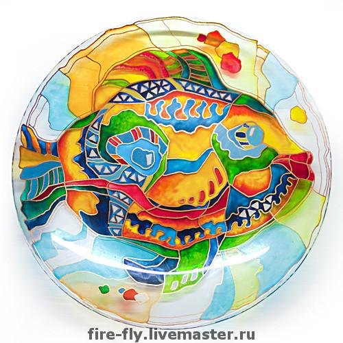 Тарелки ручной работы. Ярмарка Мастеров - ручная работа. Купить Рыба. Handmade. Стекло, Витраж, тарелка, яркая жизнь, радужный