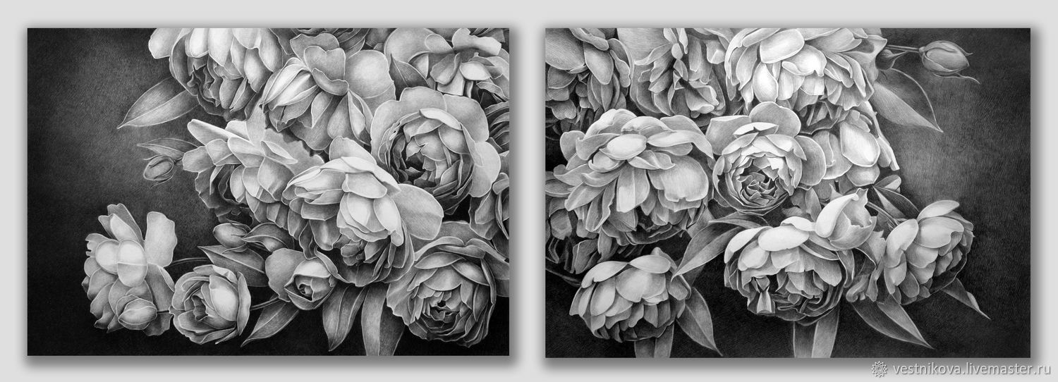 Diptych with peony roses, Pictures, Moscow,  Фото №1