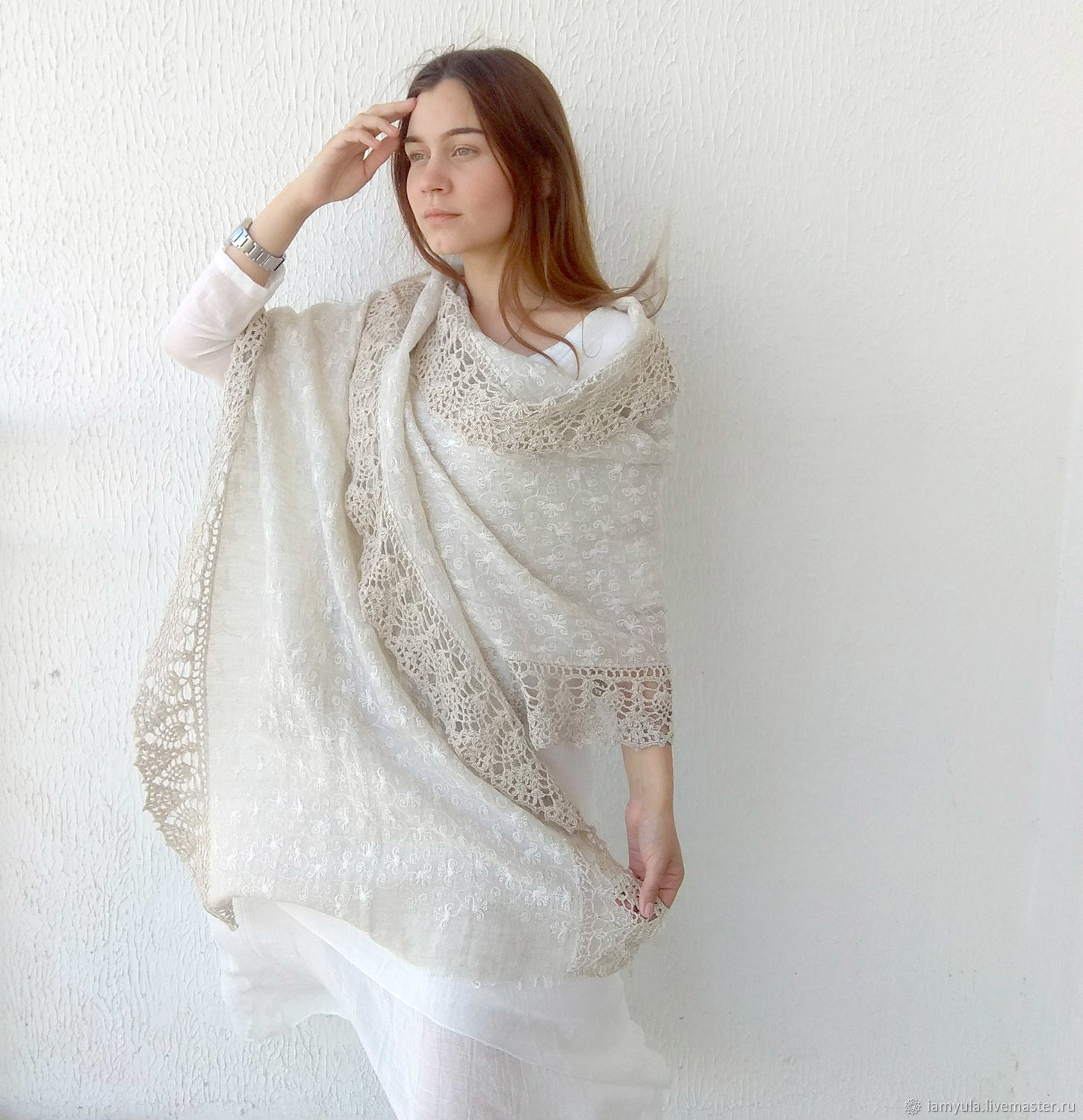 Summer linen stole with embroidery and knitted border, Wraps, Naberezhnye Chelny,  Фото №1