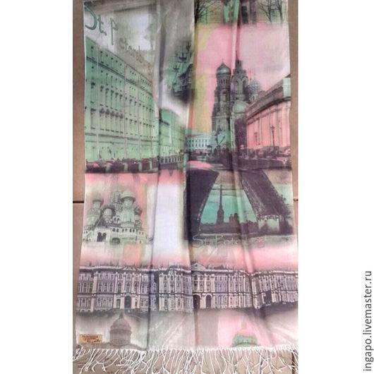 """Шитье ручной работы. Ярмарка Мастеров - ручная работа. Купить Шаль """"Санкт-Петербург"""" Белые ночи 003. Handmade. Мятный"""