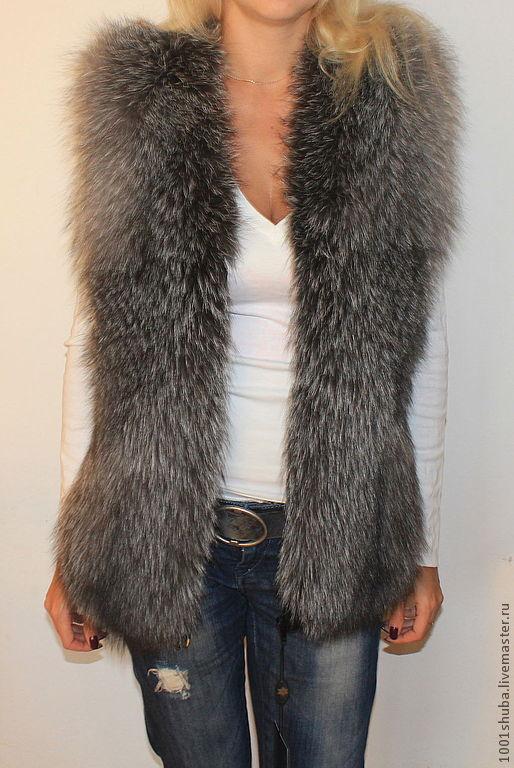 Меховая жилетка из чернобурки,длина 65 или 70 см,на молнии, боковые кожаные вставки, пошита перфорацией, модель  под заказ, все размеры.Жилет шьется по меркам.