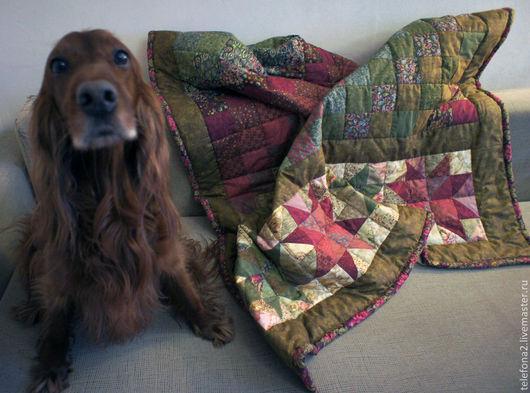 Текстиль, ковры ручной работы. Ярмарка Мастеров - ручная работа. Купить Лоскутное покрывало Брусника на болоте (7). Handmade. Хаки