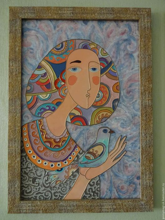 Люди, ручной работы. Ярмарка Мастеров - ручная работа. Купить Девушка с голубем. Handmade. Голубой, картина в гостиную, нежно-голубой