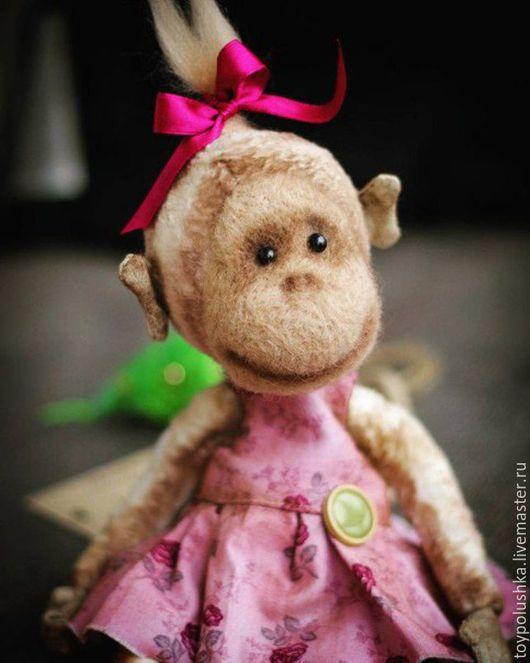 Мишки Тедди ручной работы. Ярмарка Мастеров - ручная работа. Купить Monkey/ Обезьянка Вивьен. Handmade. Розовый, тедди
