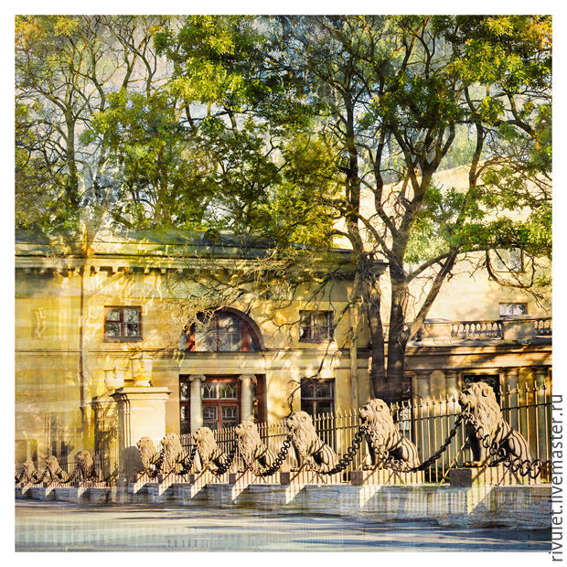 Photo painting for interior. Photo pictures with a view of St Petersburg. Townscape `Lions Twins` square pattern on the wall © Elena Anufrieva. More photos pictures on request