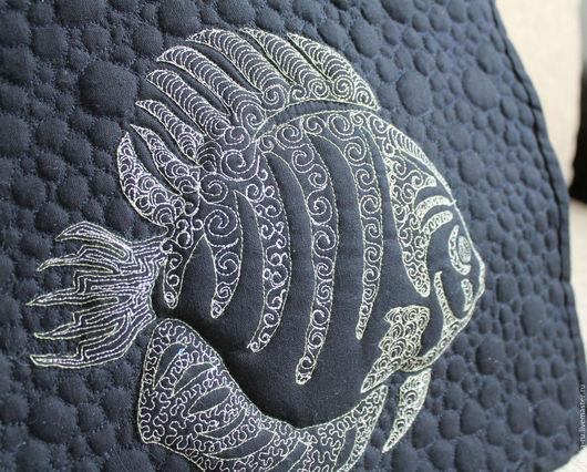 Текстиль, ковры ручной работы. Ярмарка Мастеров - ручная работа. Купить Образец. Трапунто. Свободно-ходовая стежка.. Handmade. Черный