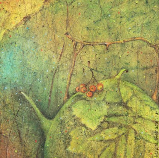 Фантазийные сюжеты ручной работы. Ярмарка Мастеров - ручная работа. Купить Чай под осенним зонтом...Картина - принт на холсте.. Handmade.