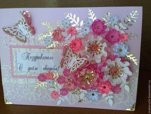 Открытки к другим праздникам ручной работы. Ярмарка Мастеров - ручная работа. Купить открытка  свадьбу. Handmade. Бледно-розовый, бумага